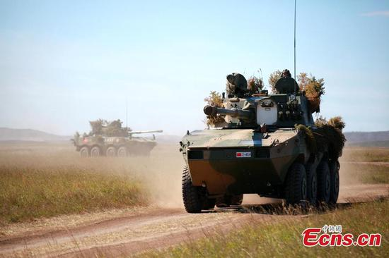 Chinese soldiers in Vostok-2018 military drill